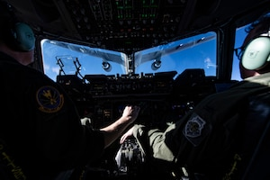A KC-46 Pegasus assigned to the 22nd Air Refueling Wing flies away after a refueling training mission over Kansas, Jan. 6, 2020. The training mission not only allowed pilots from the 911th Airlift Wing to train, but also pilots and boom operators from the 22nd ARW to receive training as well.