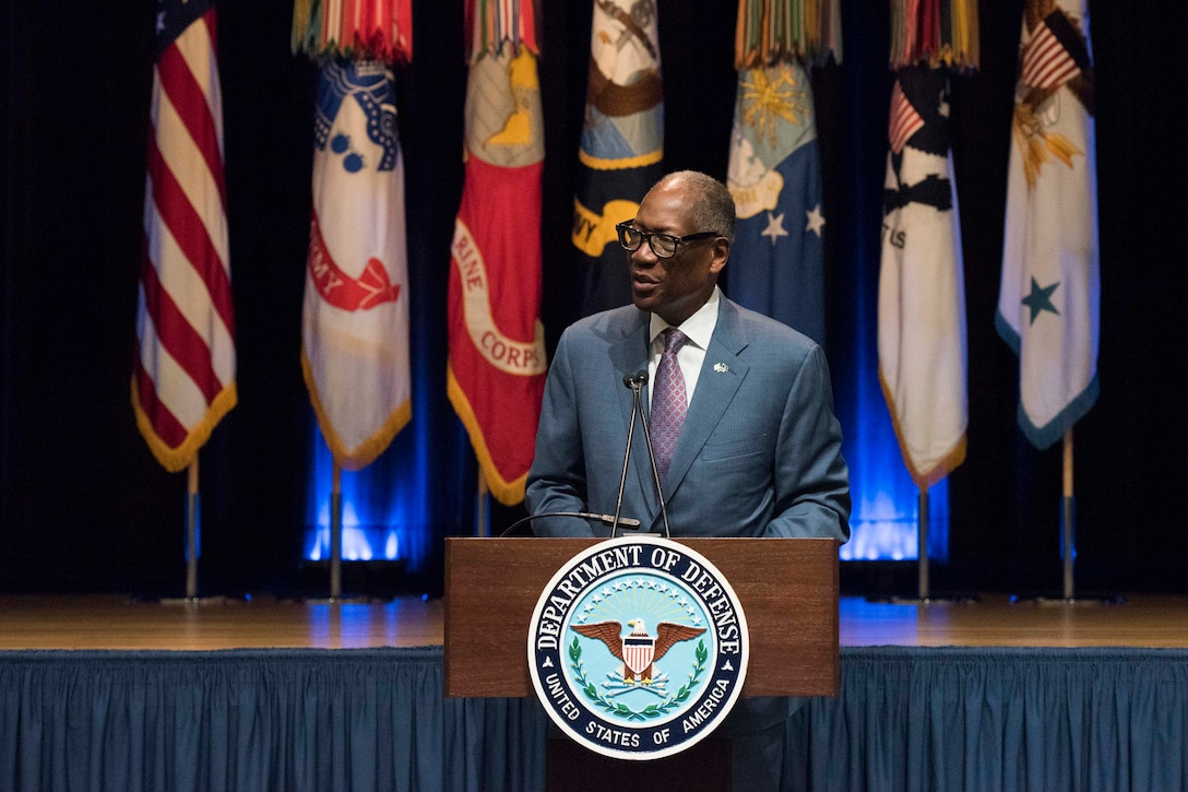 Air Force Gen. Lester L. Lyles (Ret.) delivers remarks.