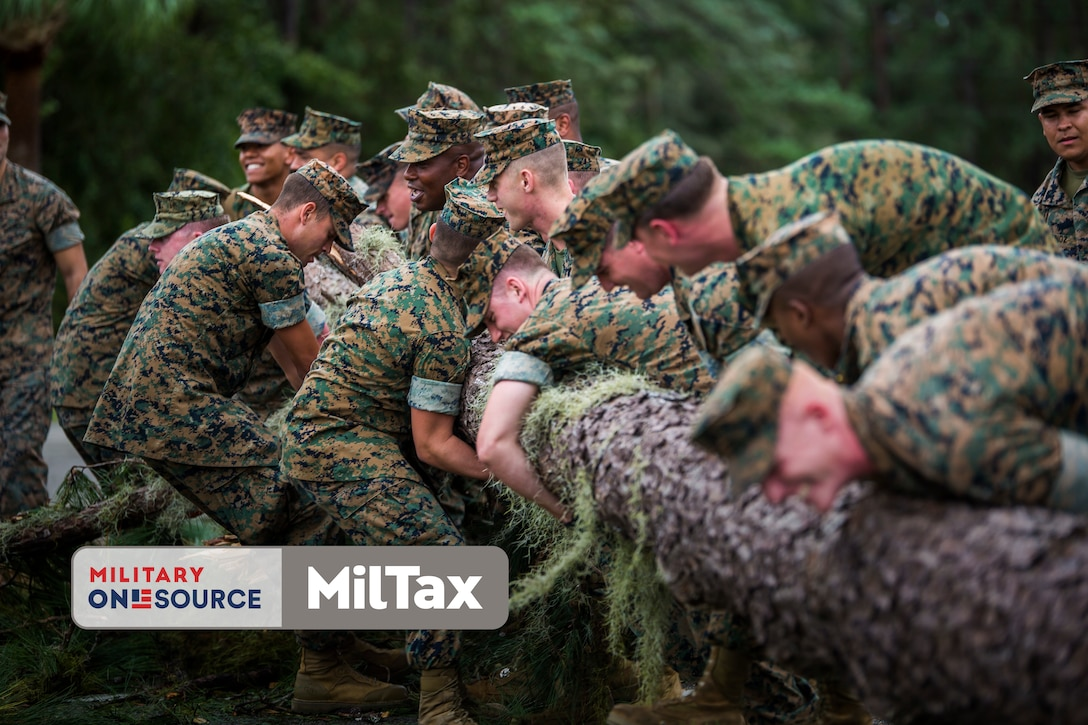 Photo of Marines with MilTax logo superimposed on it