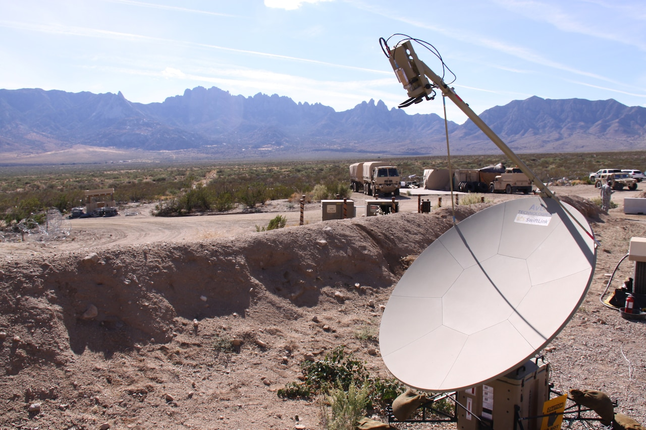 Antenna set up in desert