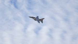 Air Force Thunderbird jet #8, flown by Maj. Jason Markzon, flies over Edwards Air Force Base, California, Jan. 16. Markzon, the advance pilot and narrator for the Thunderbirds Flight Demonstration Squadron, visited different base facilities at Edwards to conduct a site survey ahead of their performance at the 2020 Aerospace Valley Air Show, Oct. 10-11. (Air Force photo by Giancarlo Casem)