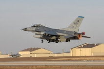 """A U.S. Air Force F-16 Fighting Falcon aircraft assigned to the 35th Fighter Squadron """"Pantons"""" takes off for a routine training flight at Kunsan Air Base, Republic of Korea, Jan. 16, 2020. The 35th FS is one of two fighter squadrons on Kunsan AB, both of which fly the F-16 with the goal of deterring aggression from adversaries. (U.S. Air Force photo by Tech Sgt. Joshua Arends)"""