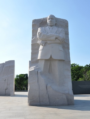 front view of Dr. Martin Luther King Jr.'s 30 foot sculpture located at the National Mall in Washington D.C.