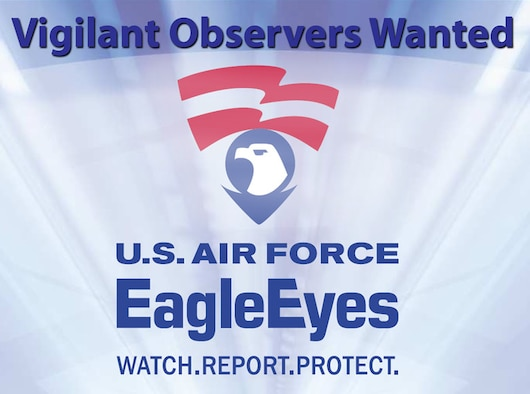 The Air Force Eagle Eyes program offers these helpful categories of suspicious behavior: Surveillance, Elicitation, Tests of Security, Acquiring Supplies, Suspicious Persons out of Place, Dry Run, and Deploying Assets. The Pass and ID office here offers a helpful brochure that breaks down all of these categories. (U.S. Air Force graphic)