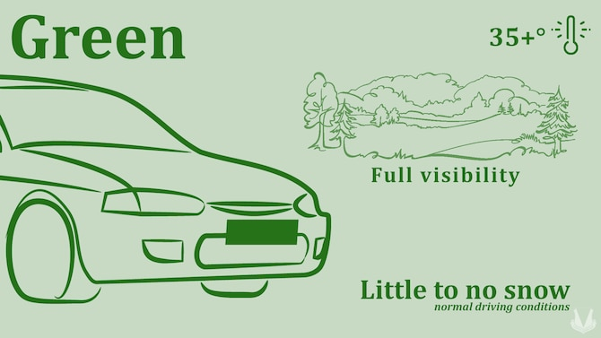 Road Condition Green at Ramstein Air Base represents normal road conditions. As the default condition, some of the characteristics of Green are temperatures greater than 35 degrees Fahrenheit, little to no snow, and full road visibility.