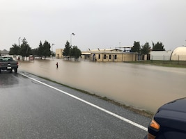 Flood water overtakes the water treatment plant during the morning of Dec. 25, 2019, at Incirlik Air Base, Turkey. The water level rose to unsafe levels as rain continued to fall during a storm. (Courtesy Photo)
