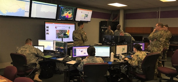 Army 1st Lt. Jerry Rivera serves as officer-in-charge for the Maryland National Guard's Joint Unclassified Processing, Analysis and Dissemination (UPAD) team while supporting earthquake recovery efforts in Puerto Rico Jan 15, 2020, at Camp Fretterd Military Reservation in Reisterstown, Md.