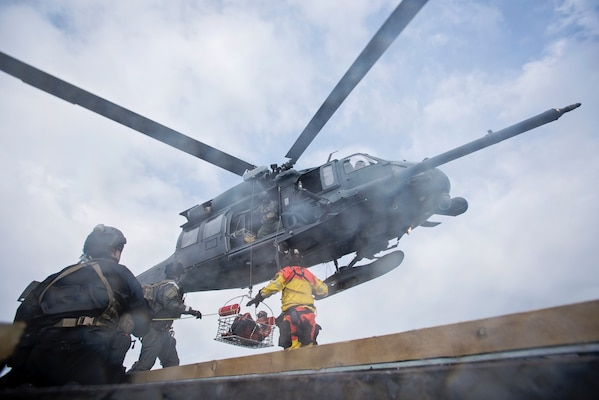 Members of the 210th, 211th and 212th Rescue Squadrons from the Alaska Air National Guard took part in a simulated casualty evacuation training exercise off the coast of Homer, Alaska, April 27, 2016. The 176th Wing completed its 2,000th rescue mission Jan. 4, 2020, saving a distressed PA-18 Super Cub pilot on the west side of Mount Susitna.