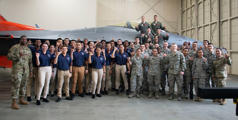 Air Force Reserve Officer Training Corps cadets pose for a photo at Tyndall Air Force Base, Florida, Jan. 15, 2020. The cadets toured several units on base including the 53rd Weapons Evaluation Group. (U.S. Air Force photo by 2nd Lt. Kayla Fitzgerald)