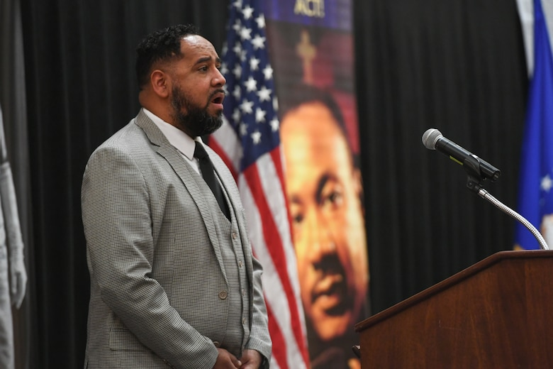 Deandrae Boyd sings the National Anthem during the Martin Luther King, Jr. Commemoration Luncheon Jan. 16, 2020, at Hill Air Force Base, Utah. (U.S. Air Force photo by Cynthia Griggs)