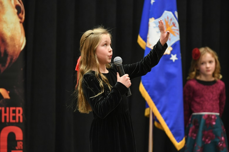 Poet Bigelow, 4th grader at Endeavour Elementary, delivers her speech during the Martin Luther King, Jr. Commemoration Luncheon Jan. 16, 2020, at Hill Air Force Base, Utah. Bigelow is a winner from the Davis County MLK Speech Competition where they chose to deliver a famous speech by Martin Luther King, Jr. (U.S. Air Force photo by Cynthia Griggs)