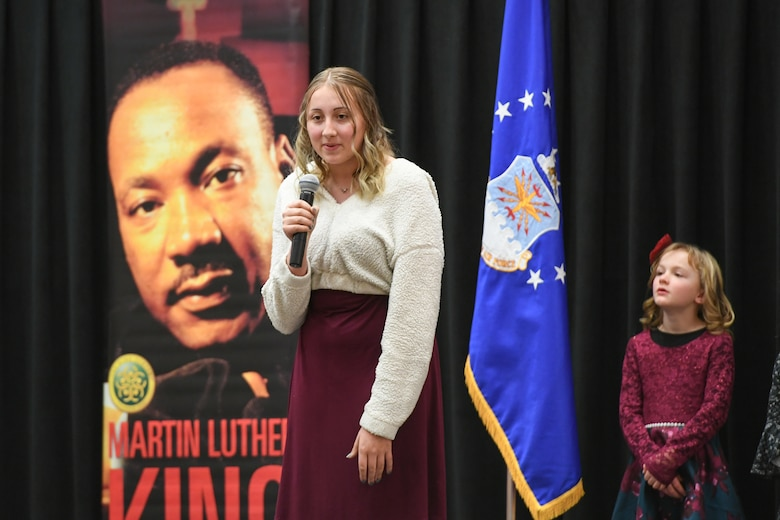 Skye Thompson, 12th grader at Northridge High School, delivers her speech during the Martin Luther King, Jr. Commemoration Luncheon Jan. 16, 2020, at Hill Air Force Base, Utah. Thompson is a winner from the Davis County MLK Speech Competition where they chose to deliver a famous speech by Martin Luther King, Jr.  (U.S. Air Force photo by Cynthia Griggs)