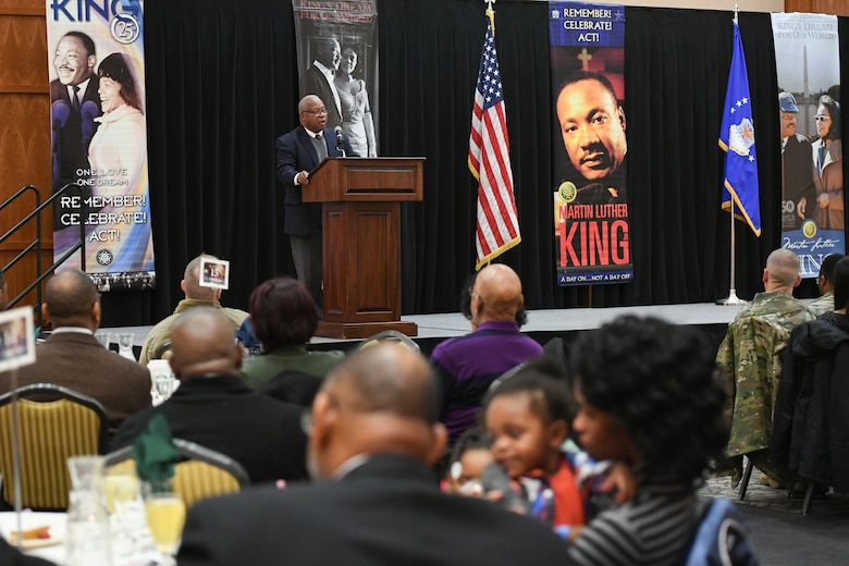 Dr. Ronald Gerald Coleman speaks at the Martin Luther King, Jr. Commemoration Luncheon Jan. 16, 2020, at Hill Air Force Base, Utah. Coleman is a retired University of Utah professor where he was a member of the History Department and the Ethnic Studies Program for 42 years and also published several essays on western black history. (U.S. Air Force photo by Cynthia Griggs)