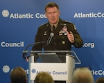 Army Chief of Staff Gen. James C. McConville, speaks about great power competition at the Atlantic Council in Washington, Jan. 14, 2020.
