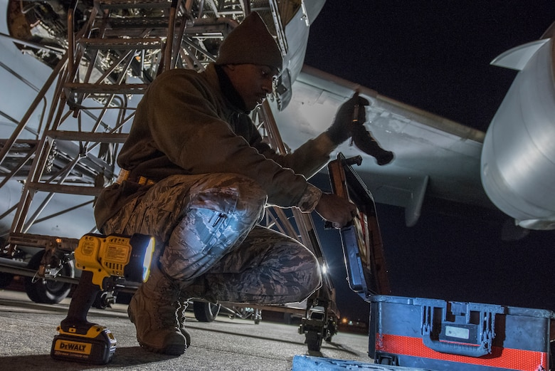 Senior Airman Markevis Duncan, 437th Aircraft Maintenance Squadron, aerospace propulsion specialist, packs up tools used to replace an electrical wire harness from a C-17 engine Jan. 7, 2020, at Joint Base Charleston, S.C.