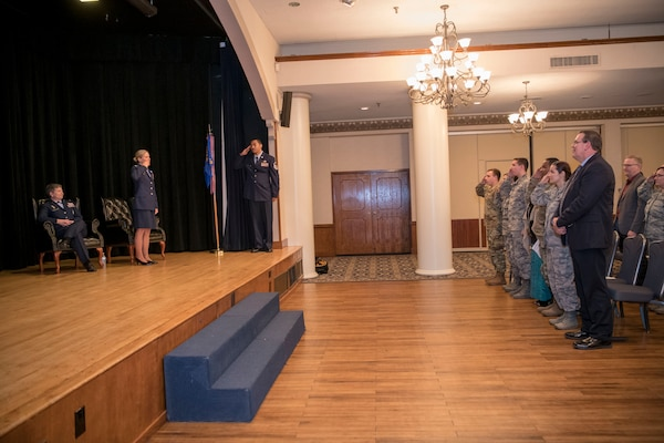 The men and women of the 1st Manpower Requirements Squadron rendered a final salute to their commander, Lt. Col. Jessica Corea, during the inactivation ceremony Jan. 9, 2020, at Joint Base San Antonio-Randolph, Texas. Through its existence, the squadron earned two Air Force Outstanding Unit awards and four Air Force organizational excellence awards.
