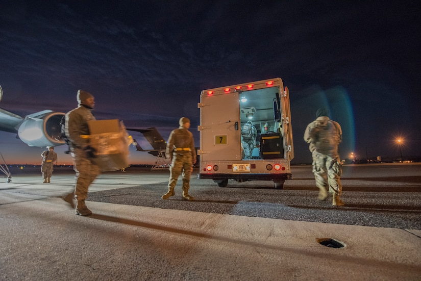 Members of the 437th Aircraft Maintenance Squadron, jet engine section, pack up after replacing an electrical wire harness from a C-17 engine Jan. 7, 2020, at Joint Base Charleston, S.C.
