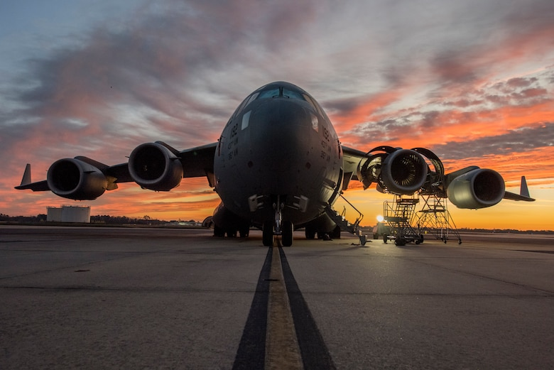 A C-17 sits on the flight line waiting for repairs from members of the 437th Aircraft Maintenance Squadron Jan. 7, 2020, at Joint Base Charleston, S.C.