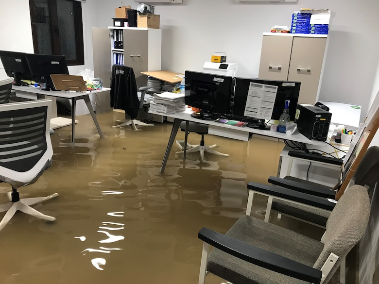 Water rises in the water treatment plant office before evacuation Dec. 25, 2019, at Incirlik Air Base, Turkey. Water damage preventative measures were taken by employees before the water continued to rise, such as moving documents and electronics to higher places. (Courtesy Photo)