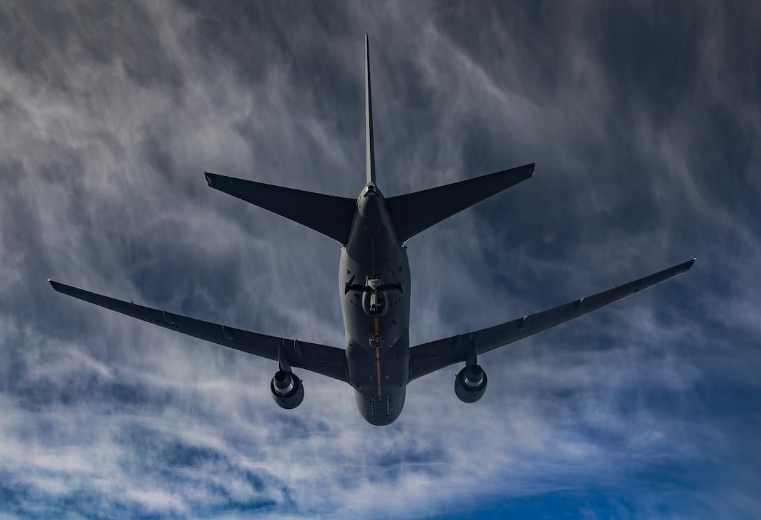 A KC-46 Pegasus flies away