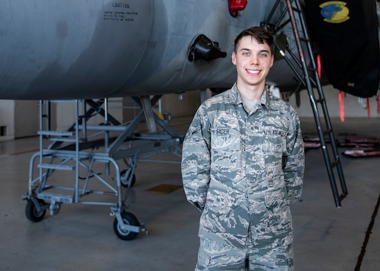 Airman Jacob Sager, 365th Training Squadron avionics apprentice course graduate, poses for a photo at Sheppard Air Force Base, Texas, Jan. 16, 2019. Sager earned the ACE award for getting perfect scores on all his performance checks and tests. (U.S. Air Force photo by Senior Airman Pedro Tenorio)