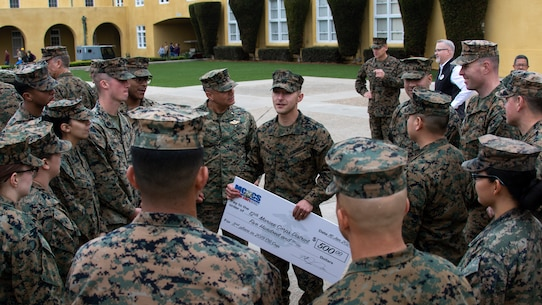 U.S. Marine Corps Gunnery Sgt. Marco A. Corral, the comptroller chief at 12th Marine Corps District, speaks to District Marines and Sailors after an award ceremony at Marine Corps Recruit Depot San Diego, Calif., Jan. 16, 2019. The Commanding General's Cup is a tournament consisting of various sports for tenant commands to compete in to boost morale and get Marines and Sailors to be active by playing sports. (U.S. Marine Corps photo by Sgt. Christian Cachola)