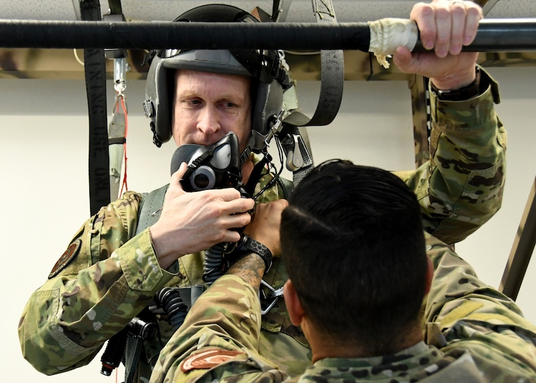 Maj. Gen. Jay D. Jensen, Headquarters Air Force Reserve Command, director of plans, programs and requirements, receives emergency parachute training at the 414th Combat Training Squadron, prior to his familiarization flight, Jan. 9, 2020, at Nellis Air Force Base, Nevada. (U.S. Air Force photo by Natalie Stanley)
