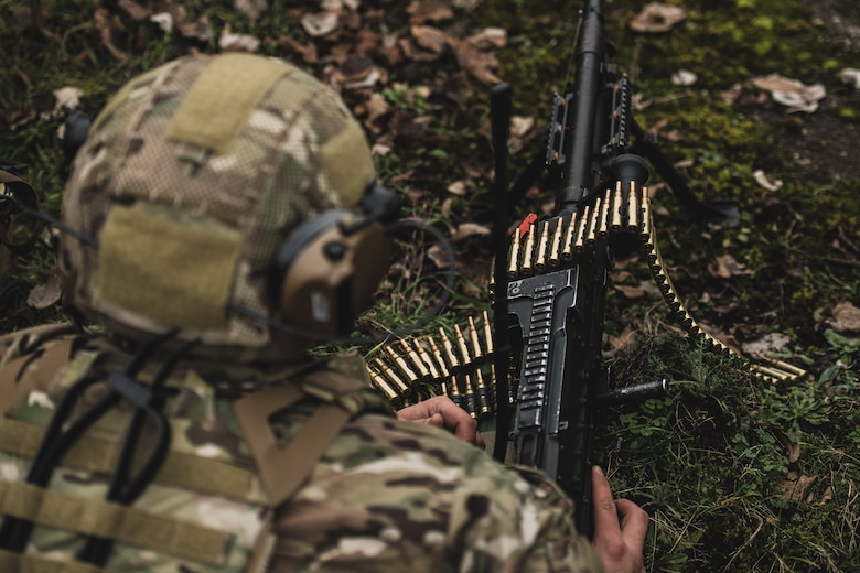 A U.S. Air Force heavy-machine gun operator assigned to the 435th Security Forces Squadron provides security for his comrades during exercise Frozen Defender in Grostenquin, France, Jan. 14, 2020. Frozen Defender tests the squadron's capabilities in a contested environment under harsh conditions. The 435th SFS Defenders use a myriad of weapons to ensure they are ready to face any adversarial threat. (U.S. Air Force photo by Staff Sgt. Devin Boyer)