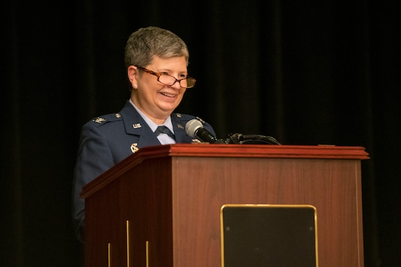 Col. Heidi A. Paulson, Air Force Manpower Analysis Agency commander, officiates over the 1st Manpower Requirements Squadron inactivation ceremony, Jan. 9, 2020, at Joint Base San Antonio-Randolph, Texas. The 1st MRS was constituted April 2, 1976, as the Air Force Personnel Management Engineering Team and redesignated as the 1st Manpower Requirements Squadron Dec. 1, 2004. It is now a division under the Manpower Management Operations Directorate in the Air Force Manpower Analysis Agency.