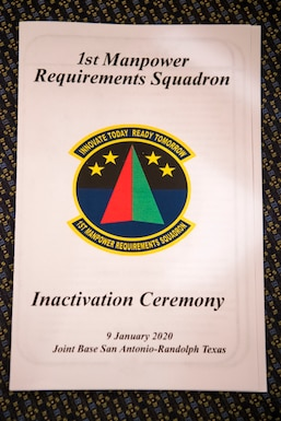 The front cover of the program for the 1st Manpower Requirements Squadron inactivation ceremony, Jan. 9, 2020, at Joint Base San Antonio-Randolph, Texas. The 1st MRS is now a division under the Manpower Management Operations Directorate in the Air Force Manpower Analysis Agency.