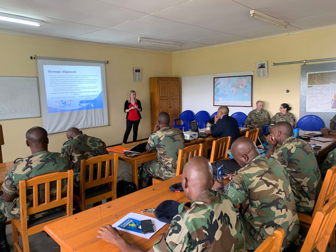 Lydia Bradley, U.S. Air Forces in Europe and Air Forces Africa Manpower, Personnel and Services Directorate, Force Development team, briefs continuous process improvement to members of the Malawian air force at Lilongwe Air Base, Malawi, Jan. 14, 2020. Bradley is part of a force development team that has been working with the Malawian air force since 2018 to build partnership capacity in the region. (U.S. Air Force photo by Capt. Korey Fratini)