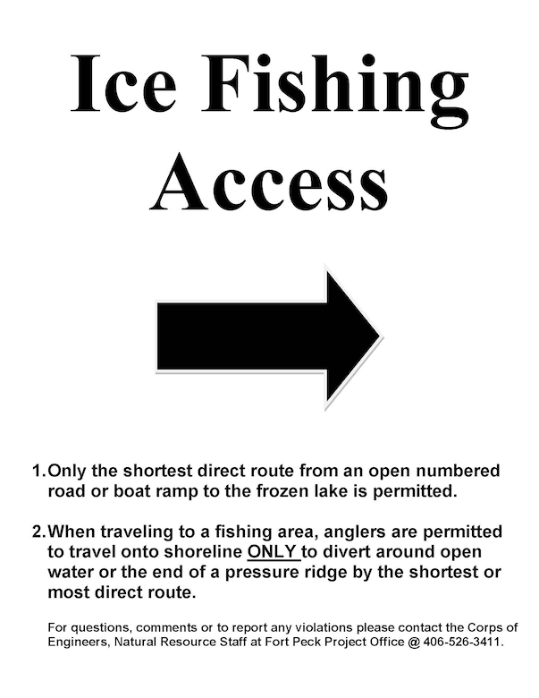Ice Fishing Access sign