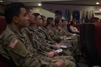 U.S. Army Soldiers from Joint Base Langley-Eustis, Virginia, attend a ceremony honoring the life and legacy of Dr. Martin Luther King Jr. at JBLE, Jan. 15, 2019. Dr. Martin Luther King Jr. was an advocate for equality and social justice reform in the U.S. (U.S. Air Force photo by Senior Airman Derek Seifert)