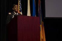 """U.S. Army Capt. Octavia Blackwell, Delta 1-222 Aviation Battalion commander, speaks at a ceremony honoring the life and legacy of Dr. Martin Luther King Jr. at Joint Base Langley-Eustis, Virginia, Jan. 15, 2019. The theme for Dr. Martin Luther King Jr. day is """"A day on, not a day off."""" (U.S. Air Force photo by Senior Airman Derek Seifert)"""