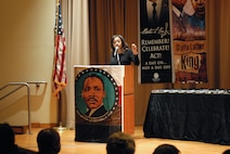 New Jersey Secretary of State Tahesha Way delivers remarks during New Jersey's annual Martin Luther King Jr. commemoration Jan. 19 at the N.J. State Museum Auditorium in Trenton. Honored during the ceremony was former Sgt. Hilda P. Griggs, who served in the Second World War's 6888th Central Postal Directory Battalion. The 6888th was the first-and-only all-African American, all-female unit to deploy overseas during the war. It consisted of 855 women under the command of Lt. Charity Adams, the first African-American woman commissioned in the Women's Army Corps. (U.S. Army photo by Sgt. Sal Ottaviano)