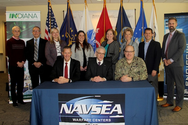 CRANE, Ind. (Jan. 20, 2020) – Naval Surface Warfare Center, Crane Division's (NSWC Crane) NavalX Midwest Tech Bridge has awarded its first Collaborative Project Order to the Indiana Innovation Institute (IN3) to foster collaboration among universities, industry, small businesses and non-profits to accelerate technology to the warfighter in areas including trusted microelectronics, hypersonics, and electro-optics.