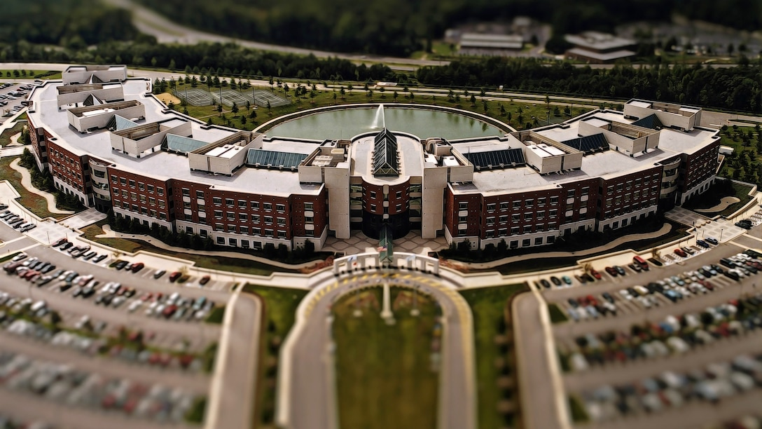 Aerial photo of the McNamara Headquarters Complex and parking lot at Fort Belvoir, Virginia.