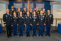 Army leaders recognized 11 career counselors throughout the active duty and Reserve components for their role in retaining experienced and qualified Soldiers during a ceremony Jan. 16, 2020, in Arlington, Va. First row from left to right: Lt. Gen. Walter E. Piatt, Army Staff director; Staff Sgt. Jackie Lord, U.S. Army Medical Command; Staff Sgt. Charity Groff, U.S. Army Intelligence and Security Command; Sgt. 1st Class Matthew Kindle, U.S. Army Europe; winners Staff Sgt. Alisa Licata and Sgt. 1st Class Joey Thomas, U.S. Army Forces Command; Sgt. Maj. Mark A. Thompson, senior Army career counselor. Second row from left to right: Staff Sgt. Kelvon Shields, U.S. Army Cyber Command; Staff Sgt. Robert Lawniczak, U.S. Army Training and Doctrine Command; Staff Sgt. Julio Ortiz, U.S. Army Pacific; Sgt. 1st Class Ryan Mata, U.S. Army Europe; Staff Sgt. Brendon Jimenez, U.S. Army Special Operations Command; and Sgt. 1st Class Robert Moore, TRADOC. (Photo Credit: Devon L. Suits)