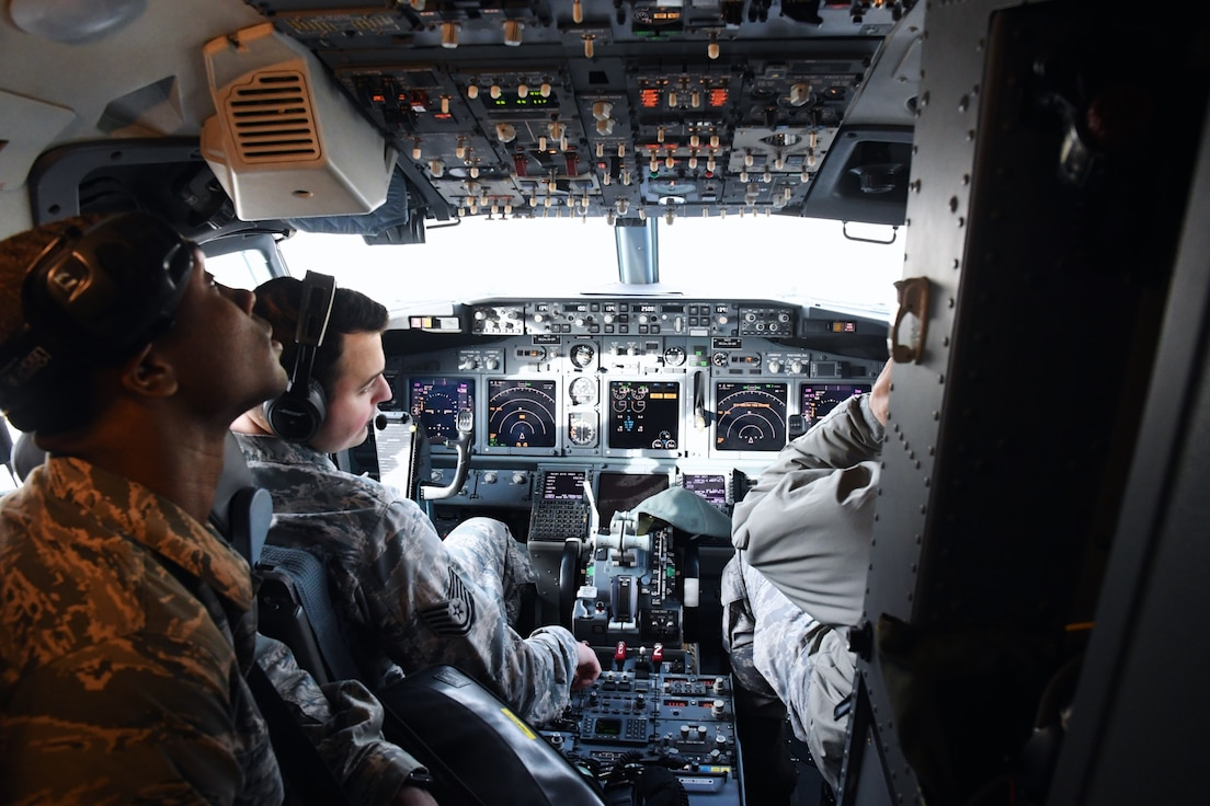 The 932nd Airlift Wing and 932nd Maintenance Group (MXG), are responsible for leading people who train and equip Airmen to inspect, maintain, and repair Air Force Reserve Command C-40C planes at Scott Air Force Base. Here 932nd MXG Airmen check cockpit controls, electronics, and headsets to communicate with the tower.  This ongoing attention to detail enables the 932nd Operations Group to fly distinguished visitor (DV) airlift around the world, anywhere they are needed by the nation's leaders. The Airmen of the MXG made various inspection checks on the plane on a chilly winter day, January 2, 2020 at Scott Air Force Base, Ill. The Illinois unit, which is part of 22nd Air Force, under Air Force Reserve Command, flies four of the C-40C planes worldwide. (U.S. Air Force photo by Lt. Col. Stan Paregien)