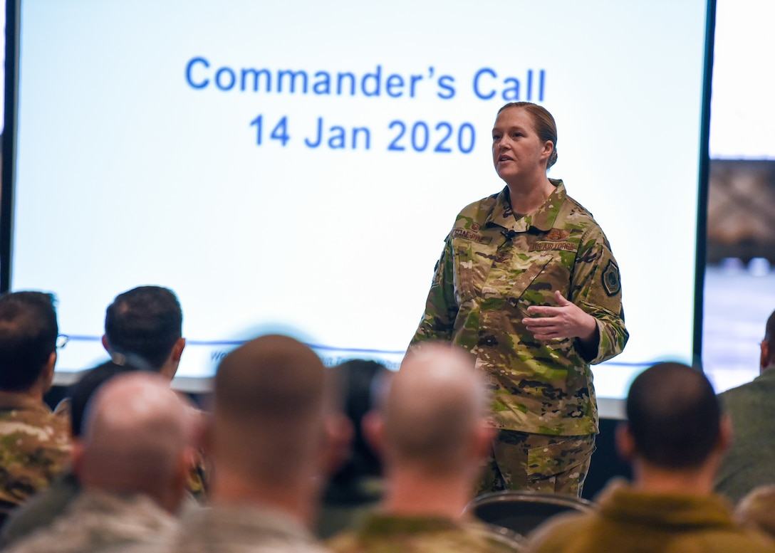 Col. Erin Staine-Pyne, 62nd Airlift Wing commander, speaks to members of the wing during a commander's call Jan. 16, 2020 at Joint Base Lewis-McChord, Wash.