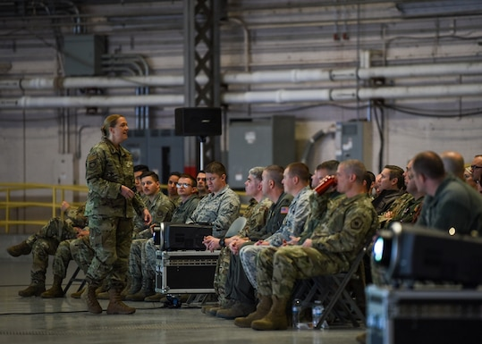 Col. Erin Staine-Pyne, 62nd Airlift Wing commander, speaks to members of the wing during a commander's call Jan. 16, 2020 at Joint Base Lewis-McChord, Wash. Staine-Pyne served previously at JBLM as vice wing commander and the 8th Airlift Squadron commander from June 2013 to February 2015. (U.S. Air Force photo by Staff Sgt. Joshua Smoot)