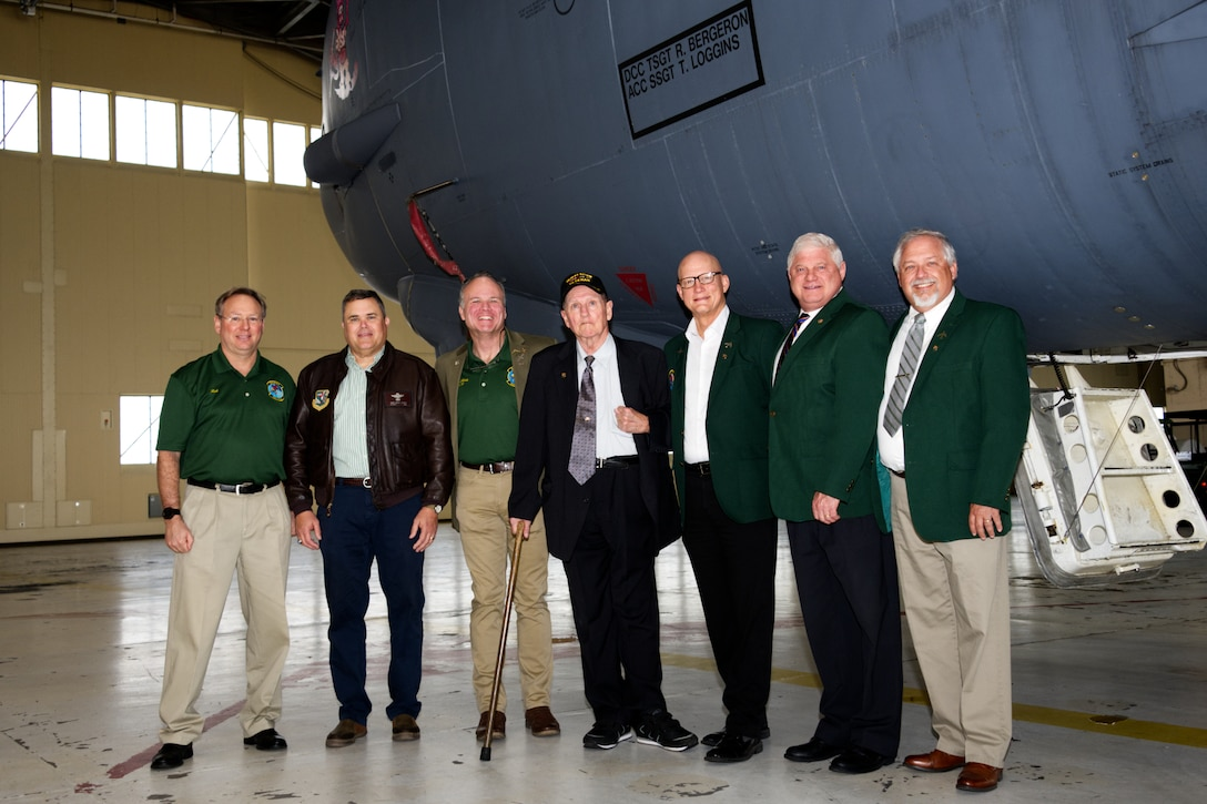 Members of Operation Senior Surprise posing outside a B-52