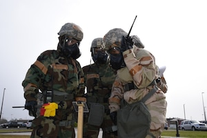 """Reserve Citizen Airmen from the 403rd Wing work post attack reconnaissance as part of their training during an enhanced training exercise called Operation Southern Comfort Jan 13-16, 2020, which took place at the Mississippi National Guard Combat Readiness Training Center, Gulfport, Mississippi and Camp Shelby, Hattiesburg, Mississippi. This training exercise was created with the intent to observe these Airmen perform their job duties in a simulated wartime environment. The Airmen were given tasks that they may encounter to include simulated chemical attacks, threats, air and ground attacks. These """"attacks"""" were designed to see how they react, if they react correctly and how long it takes to react; which determines if they received the proper training and that they understand the training. (U.S. Air Force photo by Master Sgt. Jessica Kendziorek)"""