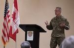 General O'Shaughnessy speaks to community members