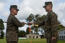 The ceremony marked the transfer of responsibility from Derby to Sgt. Maj. David M. White, who will now serve as the senior enlisted Marine in I Marine Expeditionary Force Information Group (I MIG). I MIG is I Marine Expeditionary Force's presence in the information environment, a critical, new domain for warfare. (U.S. Marine Corps photo by Lance Cpl. Brendan Mullin)