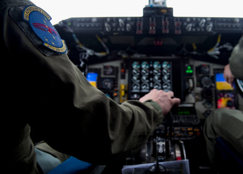 U.S. Air Force Capt. Steve Suhrie, 97th Air Refueling Squadron pilot, initiates take-off in a KC-135 Stratotanker for the 97th ARS's first mission at Fairchild Air Force Base, Washington, Jan. 13, 2020. The 97th ARS has over 70 years of history that includes it serving as one of the first Air Force air refueling units in 1949, its deactivation in 2004, and now the successful completion of its first mission since its reactivation in October 2019. (U.S. Air Force photo by Senior Airman Lawrence Sena)