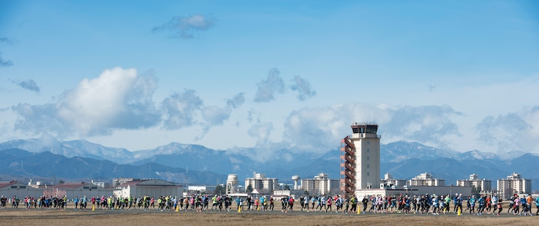 Athletes run in a Half Marathon during the 39th Annual Frostbite Run, Jan.19, 2020, at Yokota Air Base, Japan.