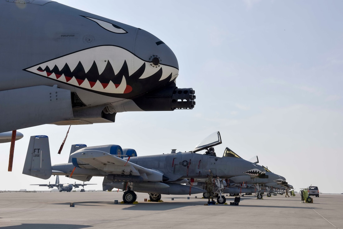 An A-10 Thunderbolt II with the 74th Fighter Squadron sits on the flightline at Al Udeid Air Base, Qatar on Jan. 16, 2020. The A-10 Thunderbolt II provides close air support and has excellent maneuverability at low air speeds and altitude, and is a highly accurate and survivable weapons-delivery platform. (U.S. Air Force photo by Tech. Sgt. John Wilkes)