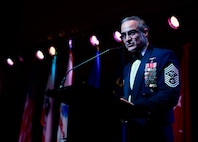 """Senior Enlisted Advisor to the Chairman of the Joint Chiefs of Staff Ramón """"CZ"""" Colón-López speaks during the California Military Department Service Member of the Year Banquet Jan. 18, 2020, in San Diego. The banquet recognized the best enlisted Soldiers, Airmen and Sailors in the California Army National Guard, California Air National Guard and California State Guard."""