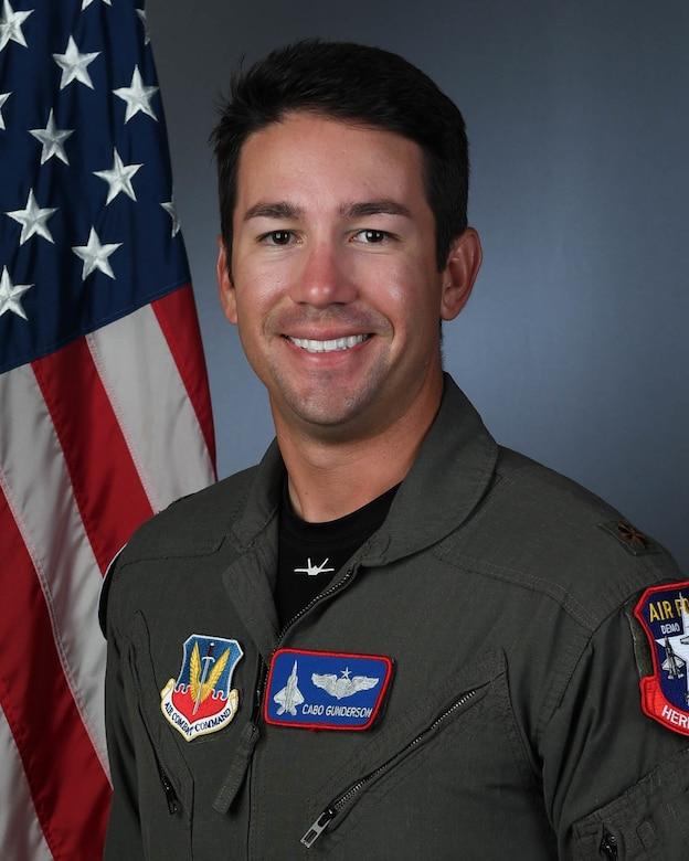 """U.S. Air Force Maj. Josh Gunderson takes over as the new F-22 Demonstration Team pilot and commander, Jan. 21, 2020, Joint Base Langley-Eustis, Va. Gunderson, who goes by the callsign """"Cabo,"""" will lead the 14-member demo team for both the 2020 and 2021 show seasons."""